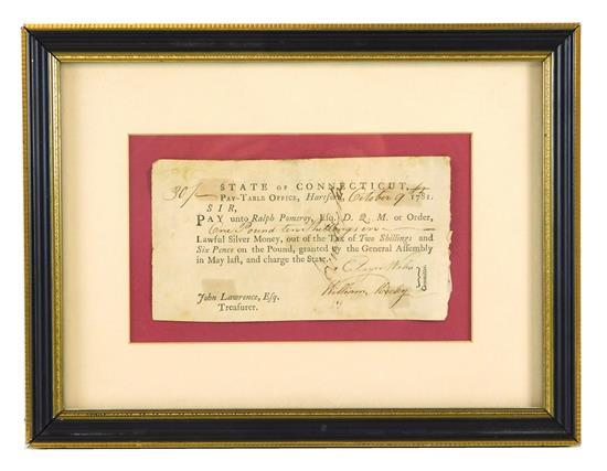HISTORICAL DOCUMENT: 1781 Connecticut Revolutionary War payment note to Quartermaster General Ralph Pomeroy by the General Assembly,...