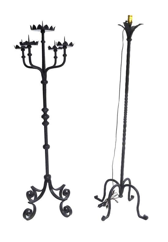 """Two pieces of decorative lighting, including: a five-light candelabra floor lamp with leaf motif to lights and scrolled feet, 57"""" h...."""