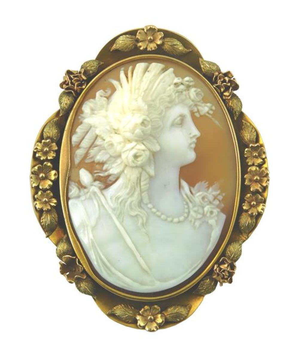 JEWELRY: 14K gold antique cameo brooch, stamped and tested 14K yellow gold, floral and leaf design frame with pin stem on back, set...