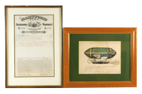 "Two 19th C. printed documents, one Diagrammatic lithographical illustration of British dirigible ""The Eagle"" and a Hartford Insuranc..."