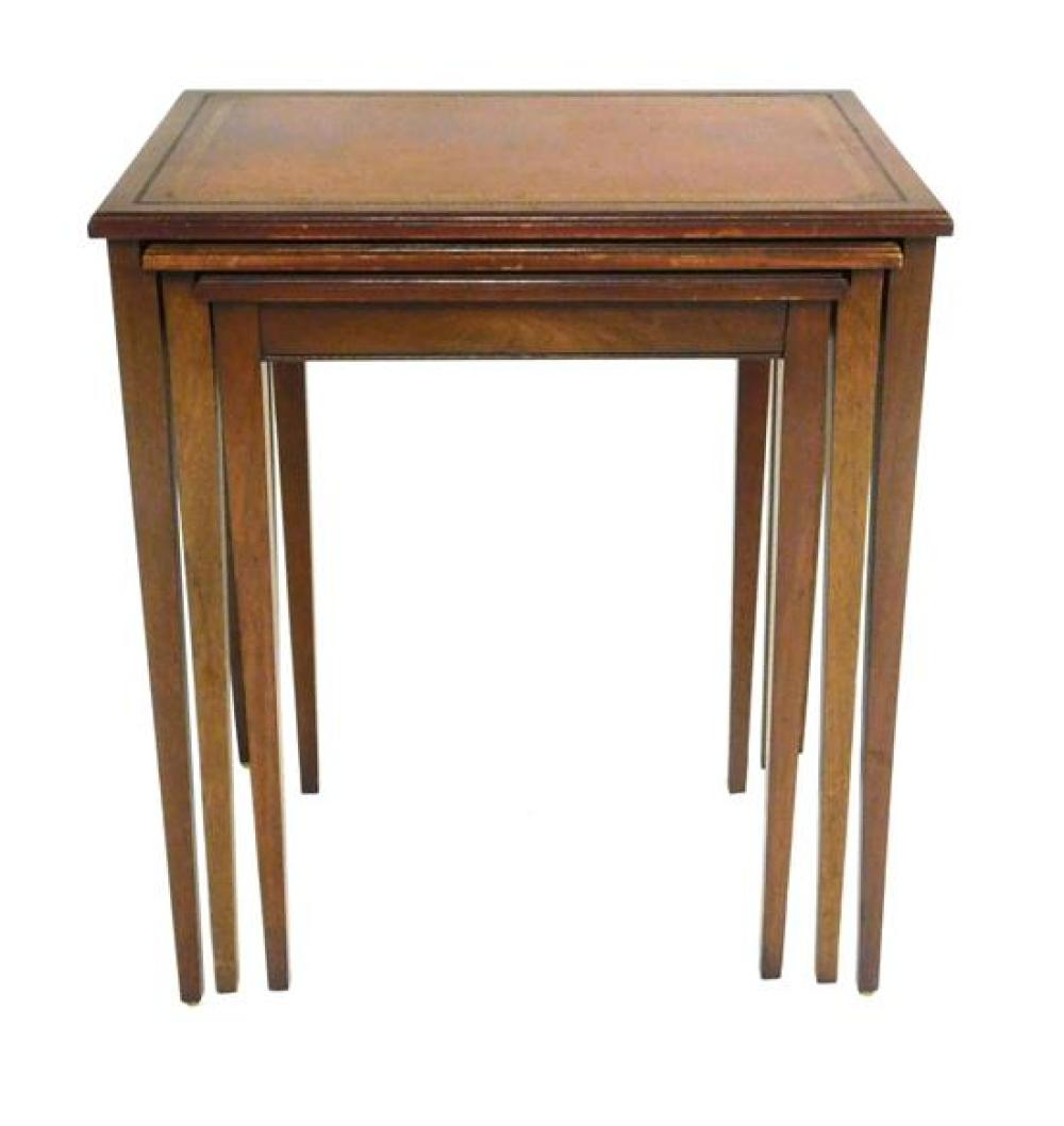 Federal style Henredon Heritage nesting tables, set of three, mahogany, embossed leather tops over Hepplewhite-style tapered square...
