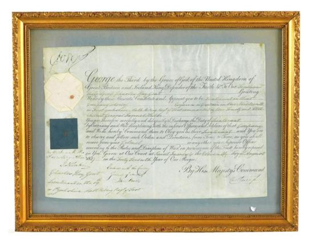 """HISTORICAL DOCUMENT: George III (1738 - 1820, King of England), 1807 Commission Document signed with a late """"Mad"""" signature, printed..."""
