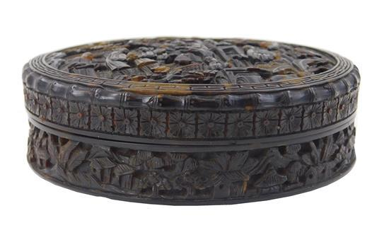 ASIAN: Chinese Export carved tortoise box, round and decorated with extensive figure design, monogrammed on base, wear consistent wi...