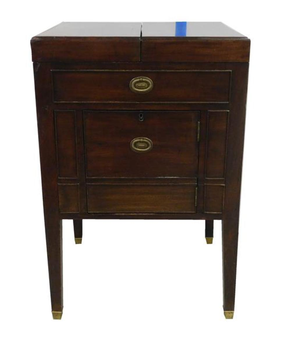 Continental commode/ washstand, 19th C., mahogany, hinged folding dome top opens to reveal interior, exterior with paneled front inc...
