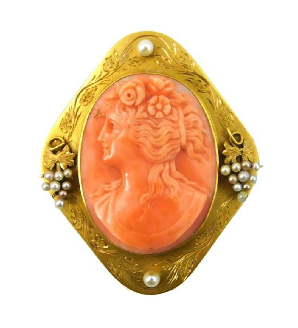 JEWELRY: 14K gold antique coral and pearl cameo pendant/brooch, stamped and tested 14K yellow gold with hand engrave frame, on each ...