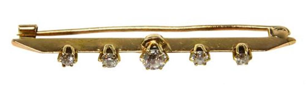 JEWELRY: 14K Antique Diamond Bar Pin: 14K yellow gold antique bar pin with five six-prong crowns, 2