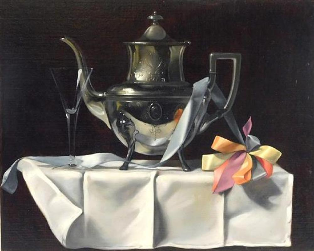 Ronald Lee Anderson (American, 1929 - 2002), trompe l'oeil still life with teapot, oil on canvas on masonite, still life featuring s..