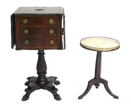 Empire style work table and marble top stand, details include: one small chest on stand with two long drawers over two short with tw...