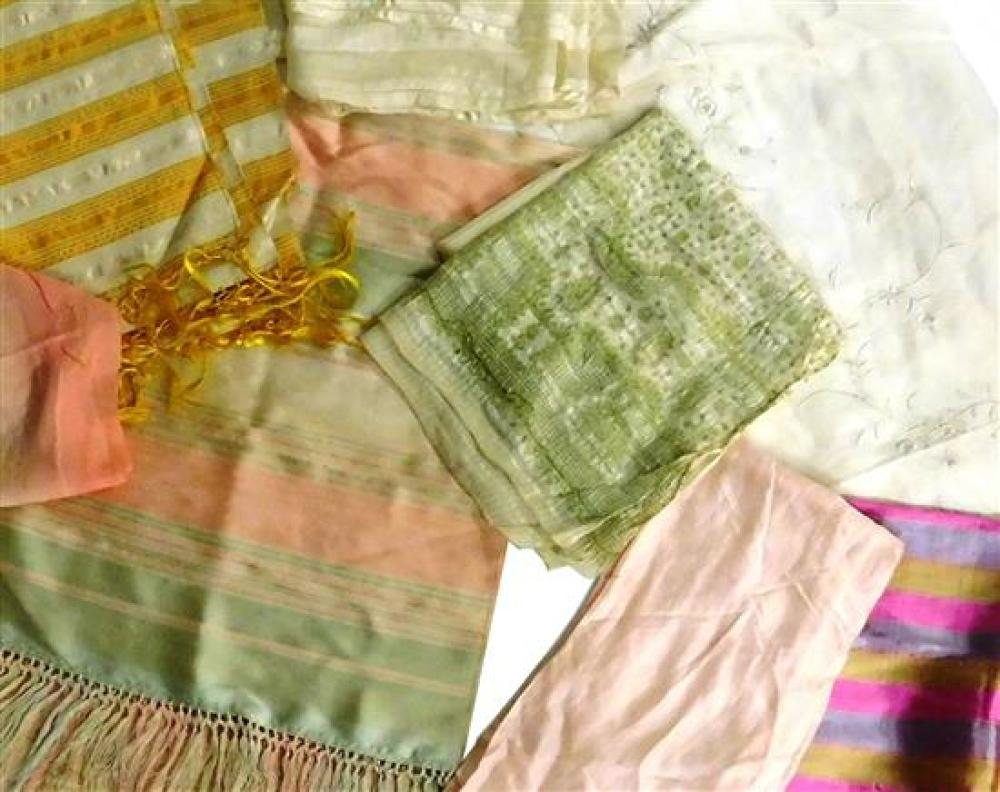 Ten silk textiles, including nine shawls: one with yellow stripes, two with pink and green stripes, one with fuchsia and purple stri...