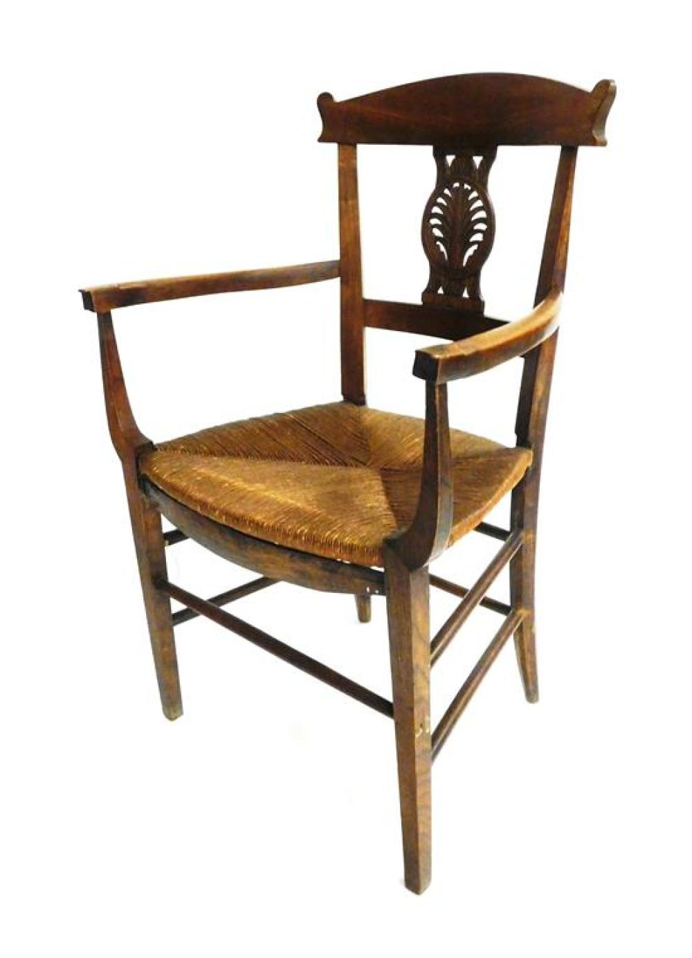 Continental armchair and single drawer stand: Continental armchair with carved foliate splat, 19th C., shaped crest with ears over n...