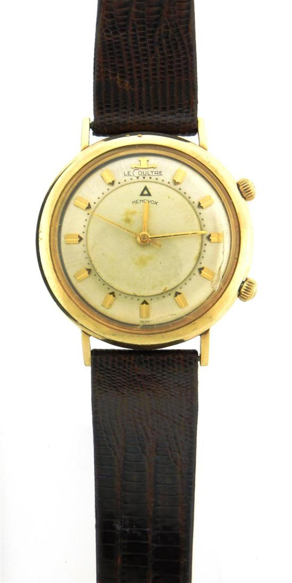 """JEWELRY: Gentleman's LeCoultre Memovox Wristwatch, 10K gold-filled, manual wind movement with alarm function, case stamped """"10K Gold.."""