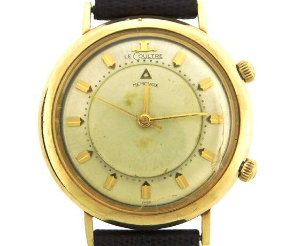 JEWELRY: Gentleman's LeCoultre Memovox Wristwatch, 10K gold-filled, manual wind movement with alarm function, case stamped