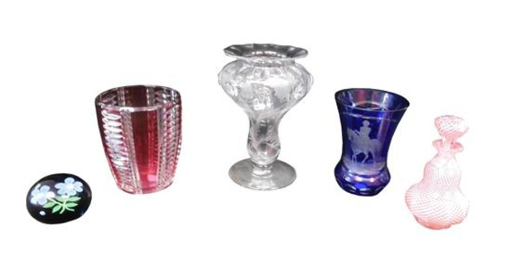 GLASS: Five pieces of European glass, 19th and 20th C. including: Val St. Lambert cranberry cut to clear vase, signed; Baccarat pape...