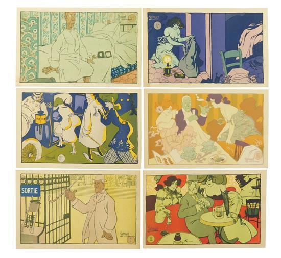 "EPHEMERA: Six Art Nouveau postcards, ""L' Entolace"" set, signed Edouard Bernard, details include: one depicting two women and a man s.."