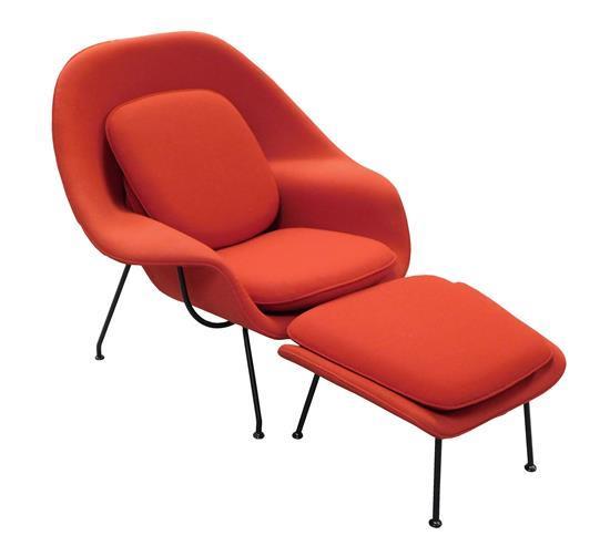 "Eero Saarinen Mid-century modern ""Womb Chair"" and ottoman, 1946 design by Eero Saarinen (Finnish, American, 1910-1961) for Knoll Ass..."