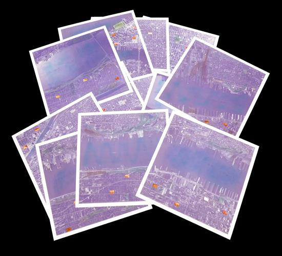 """Alan Sonfist (American b. 1946), """"View of Manhattan"""", complete set of 12 lithographs in color and photo-collages, depicts birds-eye..."""
