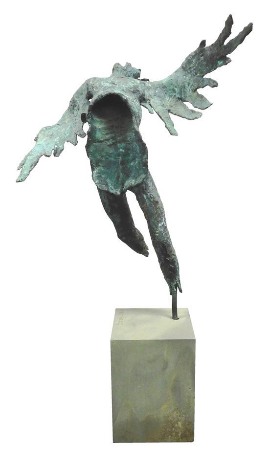 "Attributed to Wolfgang Behl (1918-1994), ""Icarus"", bronze sculpture, depicts brutalist style angel form with splayed rib cage, mount..."