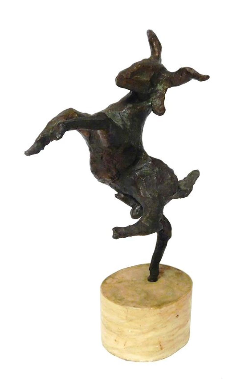Wolfgang Behl (American, 1918-1994), modern bronze Brutalist style sculpture of goat standing on hind leg, signed with monogram