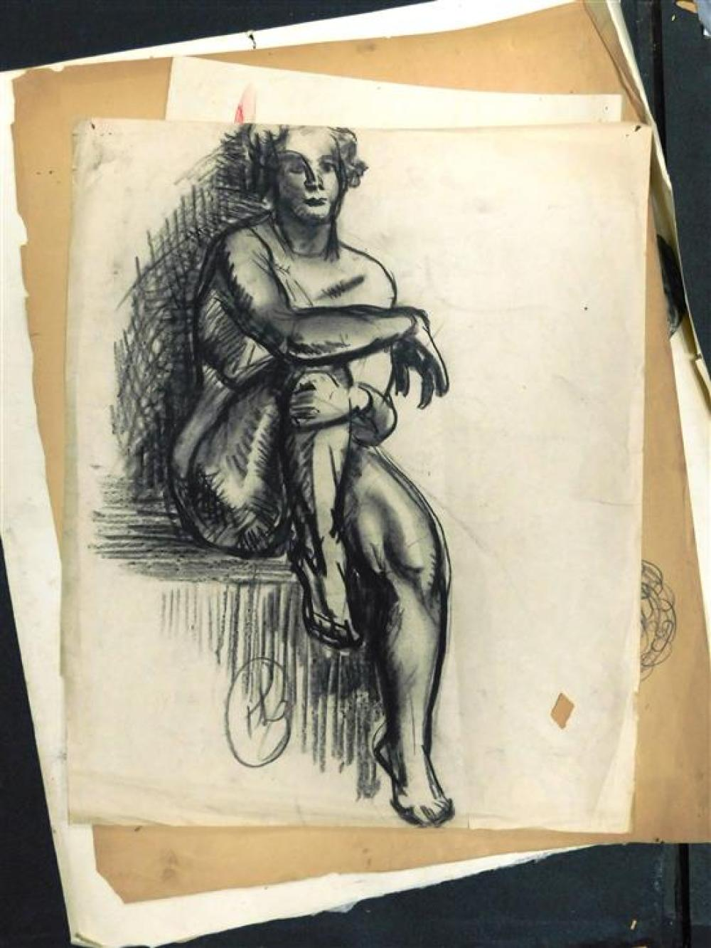 Hayley Lever (Australian, 1876-1958), 35+ loose drawings, 19th/20th C., nude studies, materials include graphite, charcoal, pastel,...