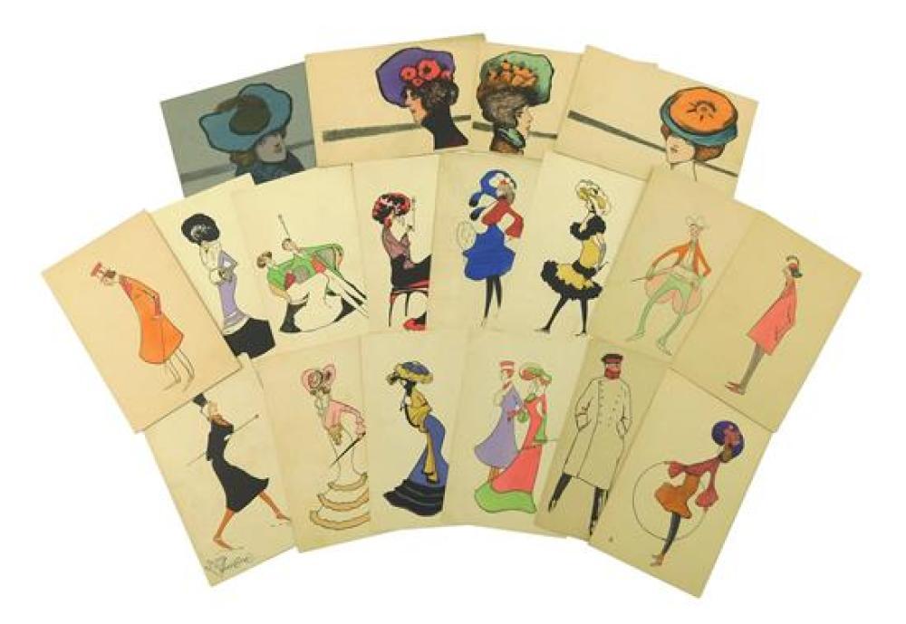 EPHEMERA: Eighteen early Art Deco era postcards, including: fourteen K.V.i.B 12 Series 1, 3, etc.; and four K.V.i.B. 12 #3, 4, 5, an...