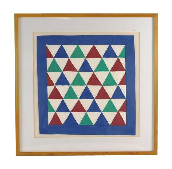 "Carolyn Cole (American, 20th C.), ""Triangles"", 1989, quilt trompe l'oeil with handmade paper, red, green, blue, and white, inscripti.."