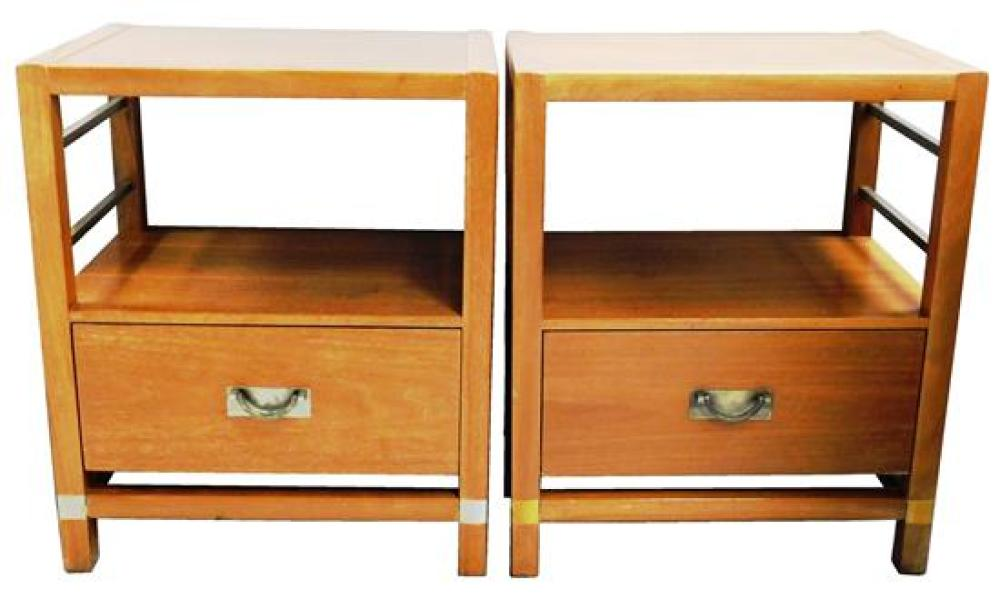 Tung-Si mid-century bedroom suite, five pieces, including: king size headboard with sliding door shelving, 36
