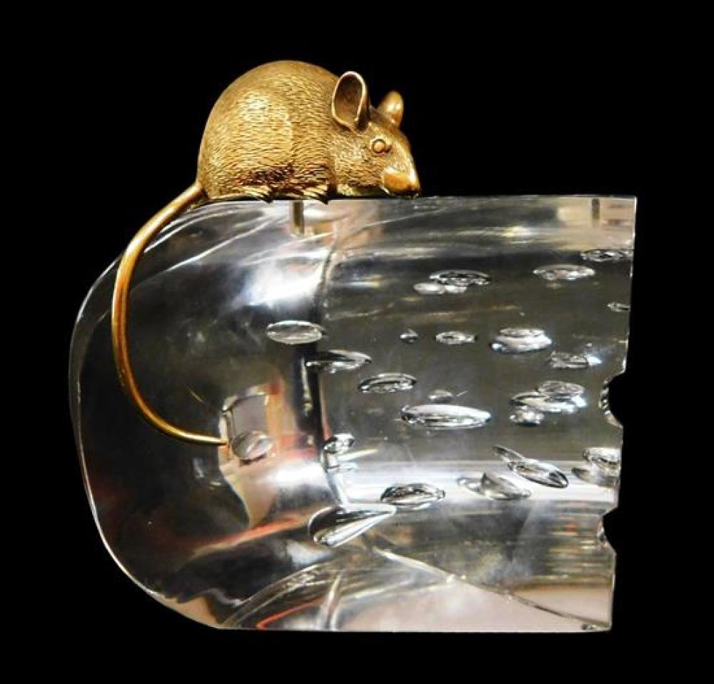 GLASS: Steuben glass and gold sculpture,