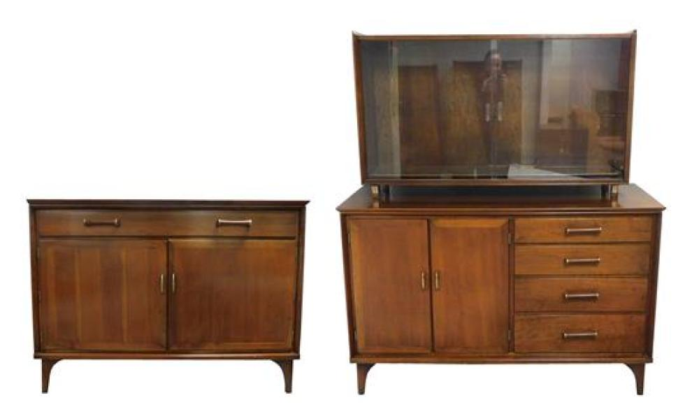Two Flint & Horner mid-century cabinets, including: a two-piece cabinet with two doors to left and four short drawers to right, topp...