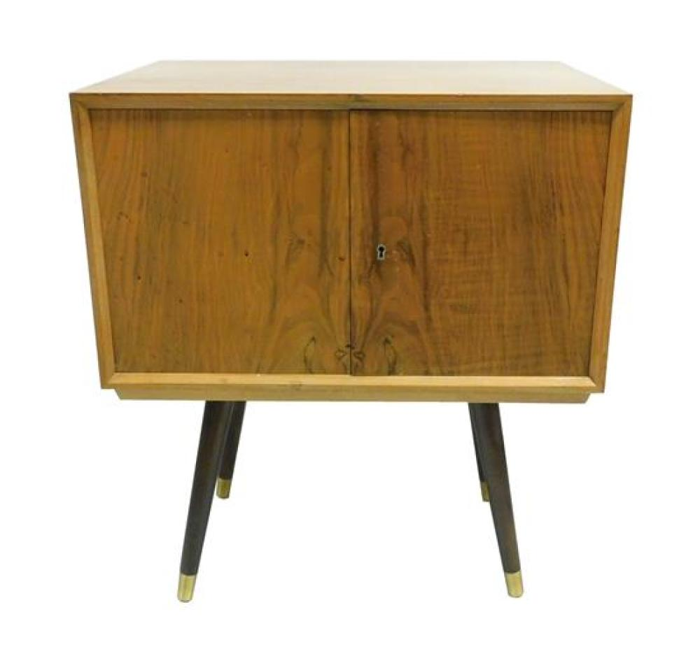 """Mid-century standing silver cabinet with stand with splay legs, label to interior """"Achtung! Schrauben"""", containing four drawers with..."""