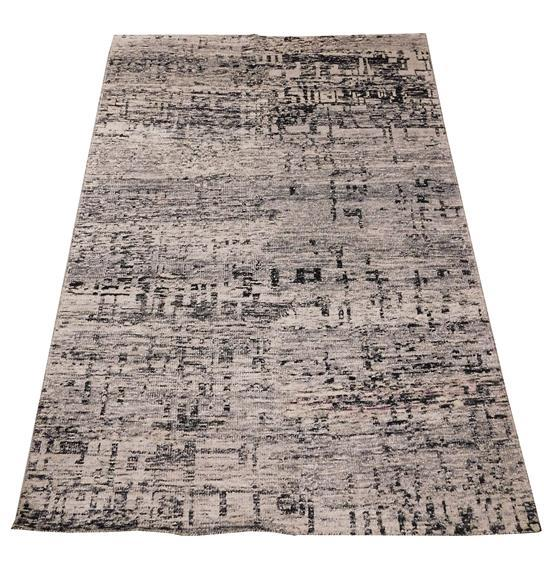 """RUG: Contemporary Sari Silk carpet, 5' 10"""" x 8' 10"""", silk, wool and cotton, abstract design with colors of grey and black on white g."""