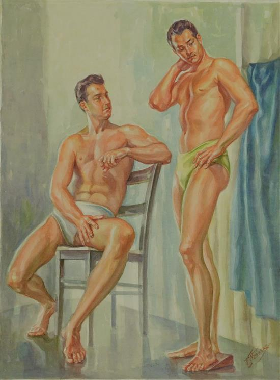 Vincent Nesbert (Polish/American, 1898 - 1976), 20th C. watercolor, depicts two male models, one seated, one standing, signed LR, lo...