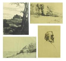 Alphonse Legros (France) 1837-1911. Le Pré ensoileillé. Etching and drypoint, c. 1880. Bliss 340, ii/II. Ed: 50. Signed with pencil,...