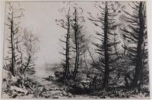 Alphonse Legros (France) 1837-1911. Le Grand canal. Etching and drypoint, c. 1875. Bliss 274, iv/VII. Ref: IFF 174. Ed: 60 ?). Signe...