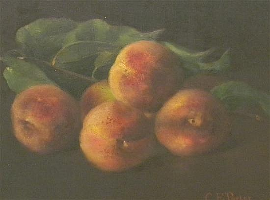 Charles Ethan Porter (American, 1847-1923), oil on canvas, still life with peaches on branch, signed LR