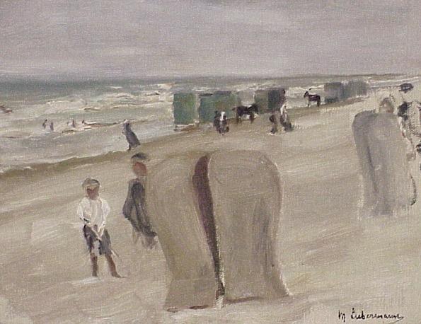 Max Liebermann (German b. 1847-1935) oil on canvas board, beach scene,1908, signed lower right