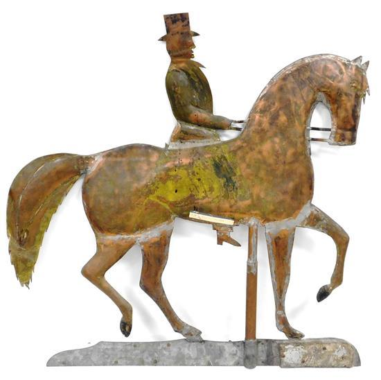 """""""Roving Preacher"""" weathervane, copper colored metal horse and rider on steel colored base, depicts a gentleman wearing top hat atop..."""