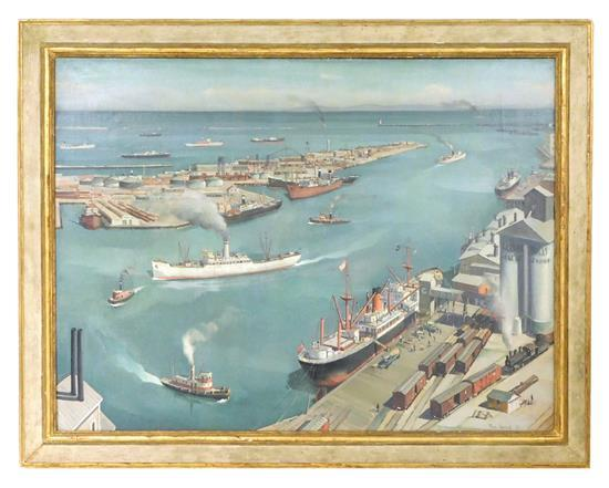 "Paul Starrett Sample (American 1896-1974), ""San Pedro Harbor,"" oil on canvas, 1937, depiction of birds-eye view of a busy twentieth ..."