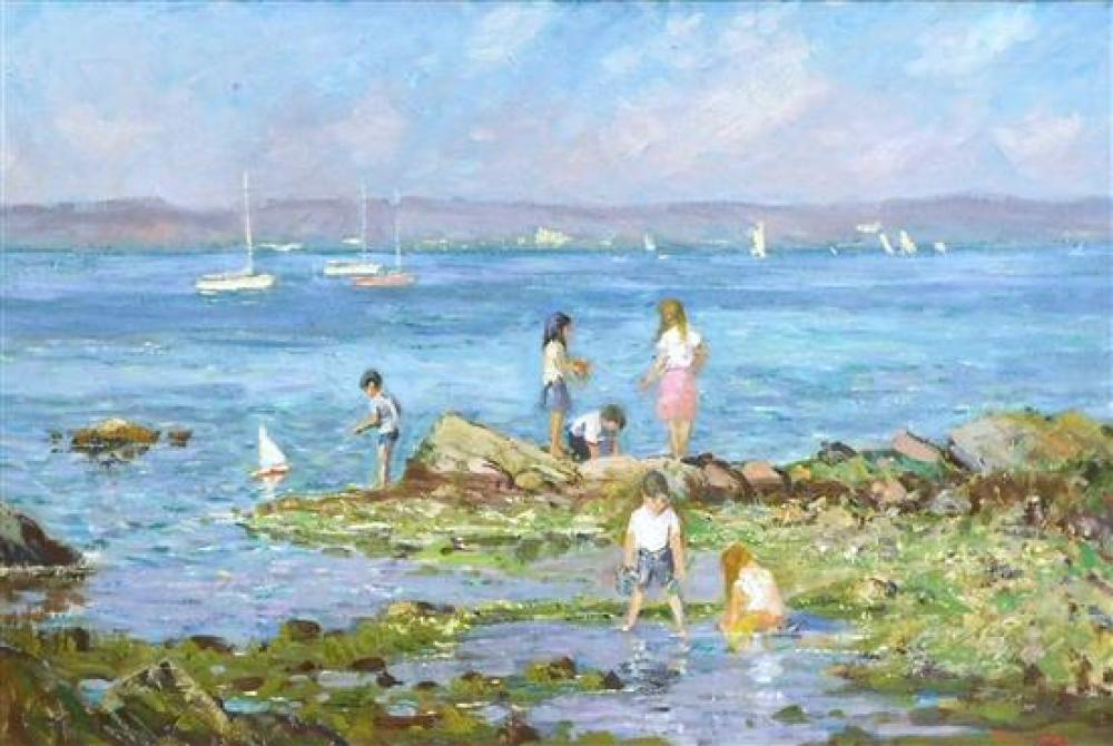 "Roger W. Dennis (American, 1902 - 1996), 20th C. oil on canvas, ""Children On Rocks"", depicts group of children playing on a rocky sh..."