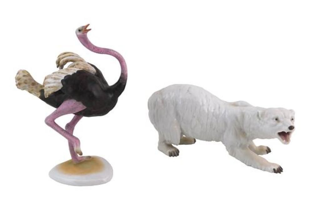"""Herend, etc., two porcelain figurines, 20th C., including: Herend ostrich, signed, 10"""" h.; and a Continental polar bear, signature/m..."""