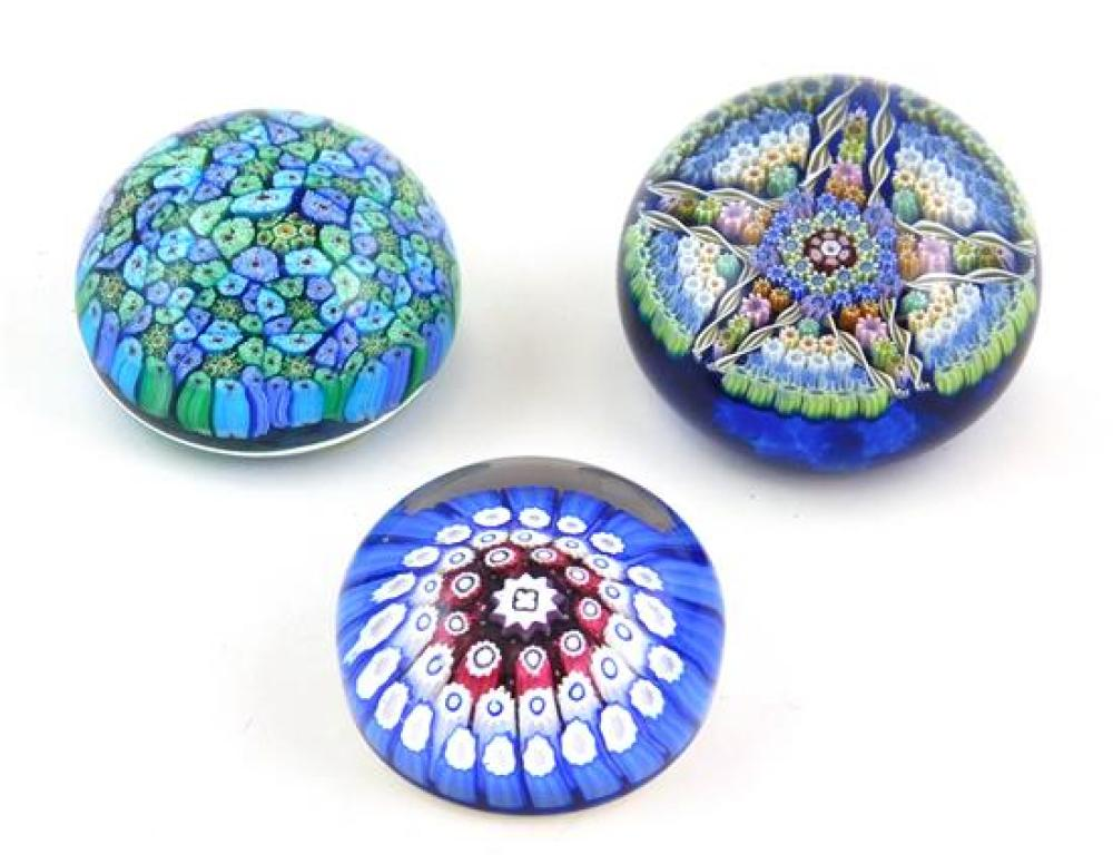 GLASS: Six glass paperweights, 20th C., most with millefiori, various makers, three signed/marked, all with wear consistent with age...