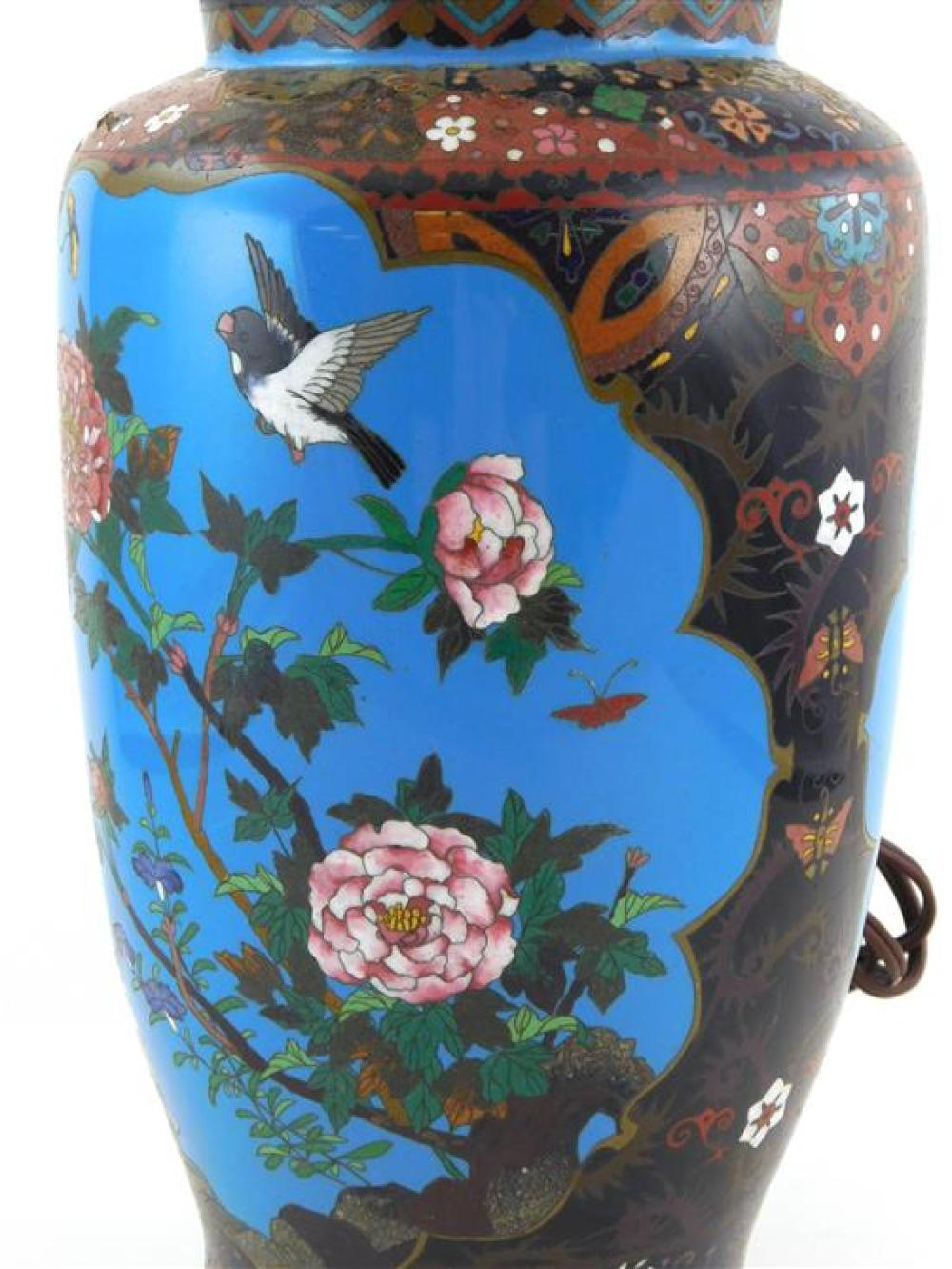 ASIAN: Cloisonne lamp base, black ground with two turquoise scenic panels, with birds, wear consistent with age and use including so...