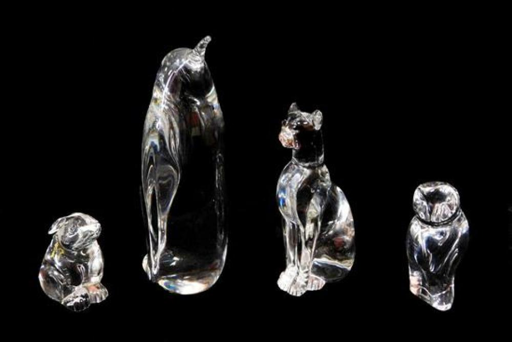 """Baccarat crystal animal figures, 20th C., all signed, including: cat, small chip to ear, 6 ¼"""" h.; an owl, 4 ¼"""" h.; and a rabbit, nic..."""