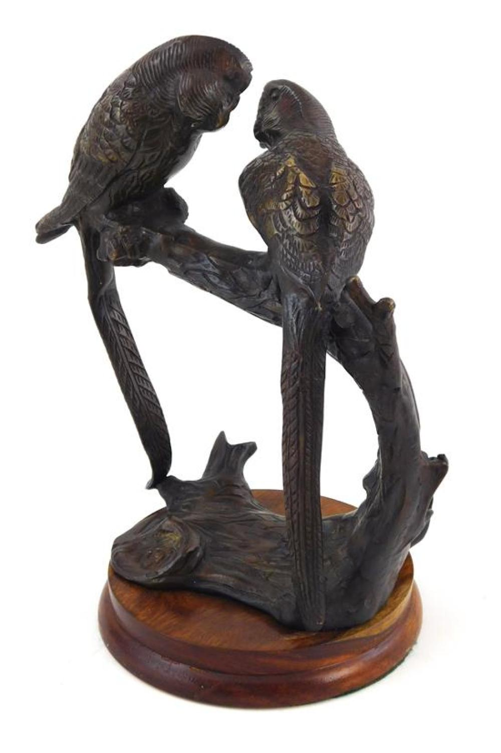 19th/20th C. bronze sculpture depicting pair long-tailed parakeets roosting on branch, both birds elevated on naturalistically molde...
