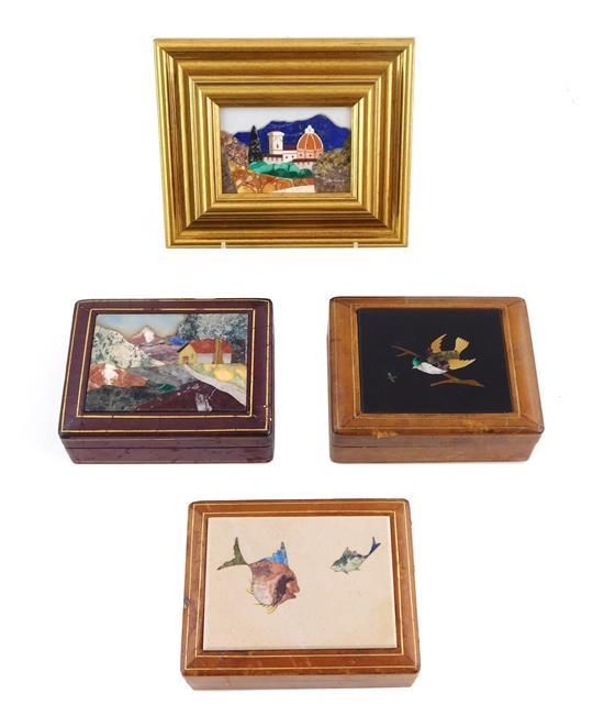"""Four pietra dura plaques, Italian 20th C.: one depicting the Duomo, Florence, framed, 2 ½"""" h. x 3 ½"""" w.; the others depicting birds,..."""