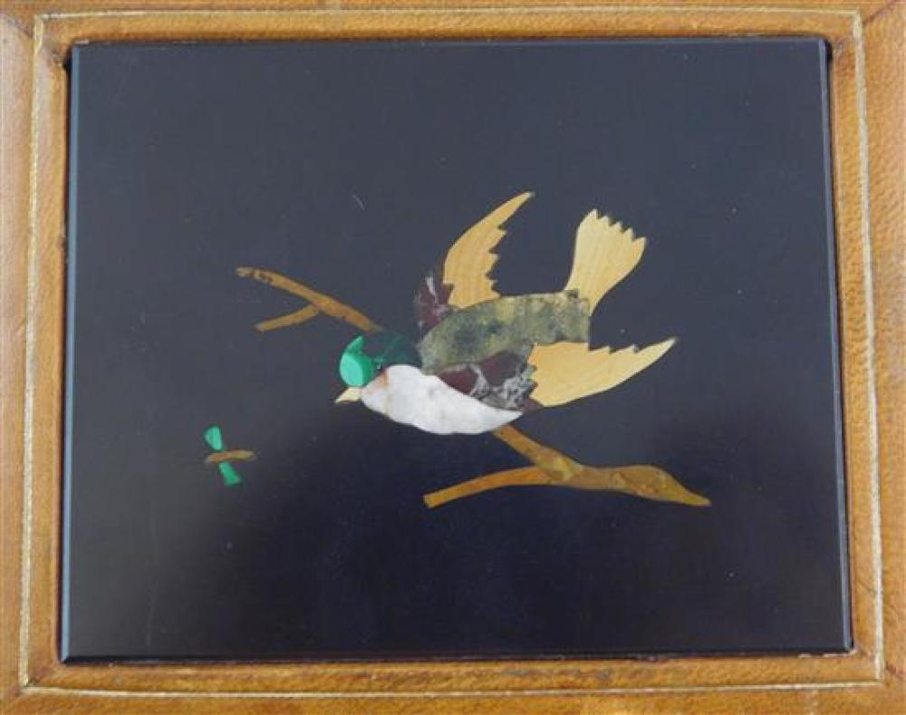 Four pietra dura plaques, Italian 20th C.: one depicting the Duomo, Florence, framed, 2 ½