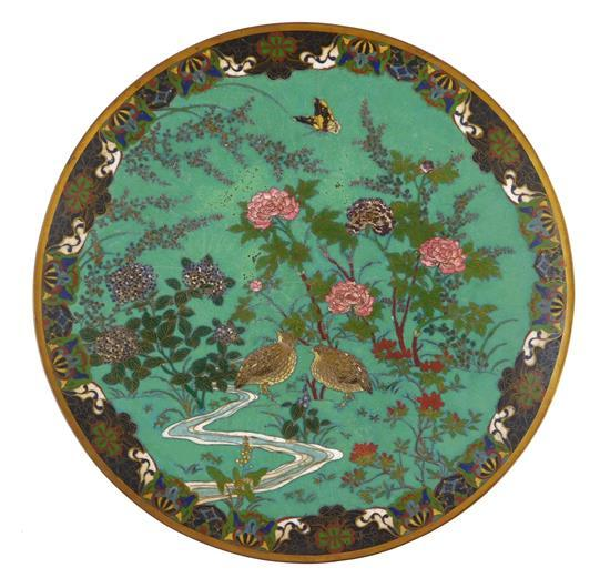 ASIAN: Cloisonné charger, Chinese, 19th C