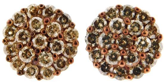 JEWELRY: Pair of 10K Diamond Cluster Earrings, round cluster settings: stamped and tested 10K yellow gold with friction post backs a...