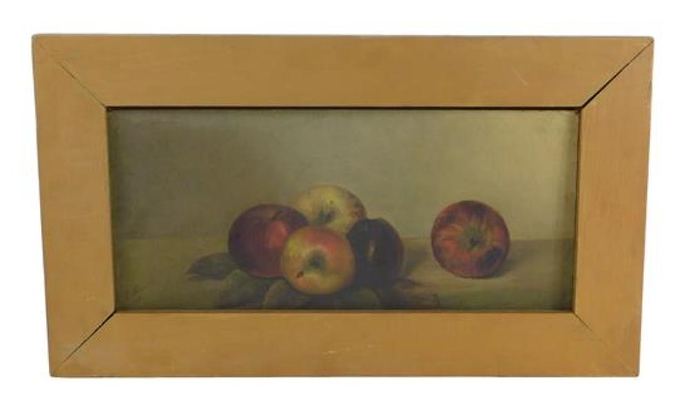 """Still Life with Apples"", 1881, oil on board, indistinctly signed lower left, depicts a cluster of apples sitting on their leaves at..."