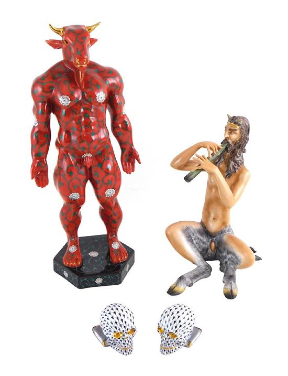 """Herend porcelain, 20th C., four pieces, including: a limited edition figure of the Minotaur, 14"""" h.; a figure of pan, 8 ½"""" h.; and a..."""