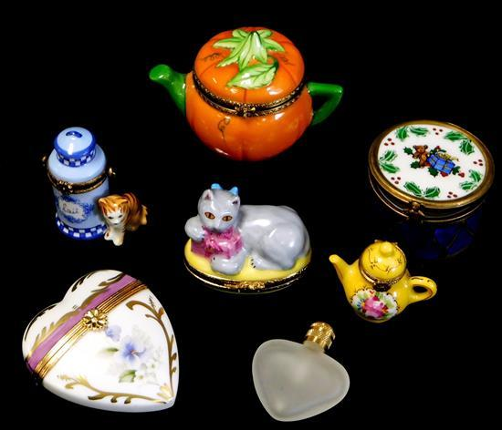 """Six pieces of Limoges, France, five """"Peint Mein"""" boxes and one Dubarry perfume, details include: Peint Mein boxes include pumpkin fo..."""